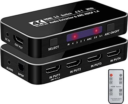 NEWCARE/HDMI/Switch/4/in/1/Out,4/Port/hdmi/Switch/4K@60Hz/with/Optical/Audio/Out,IR/Remote,/Support/DTS-HD//Dolby,/High/Speed Max/to/18Gbps ,/HDR,