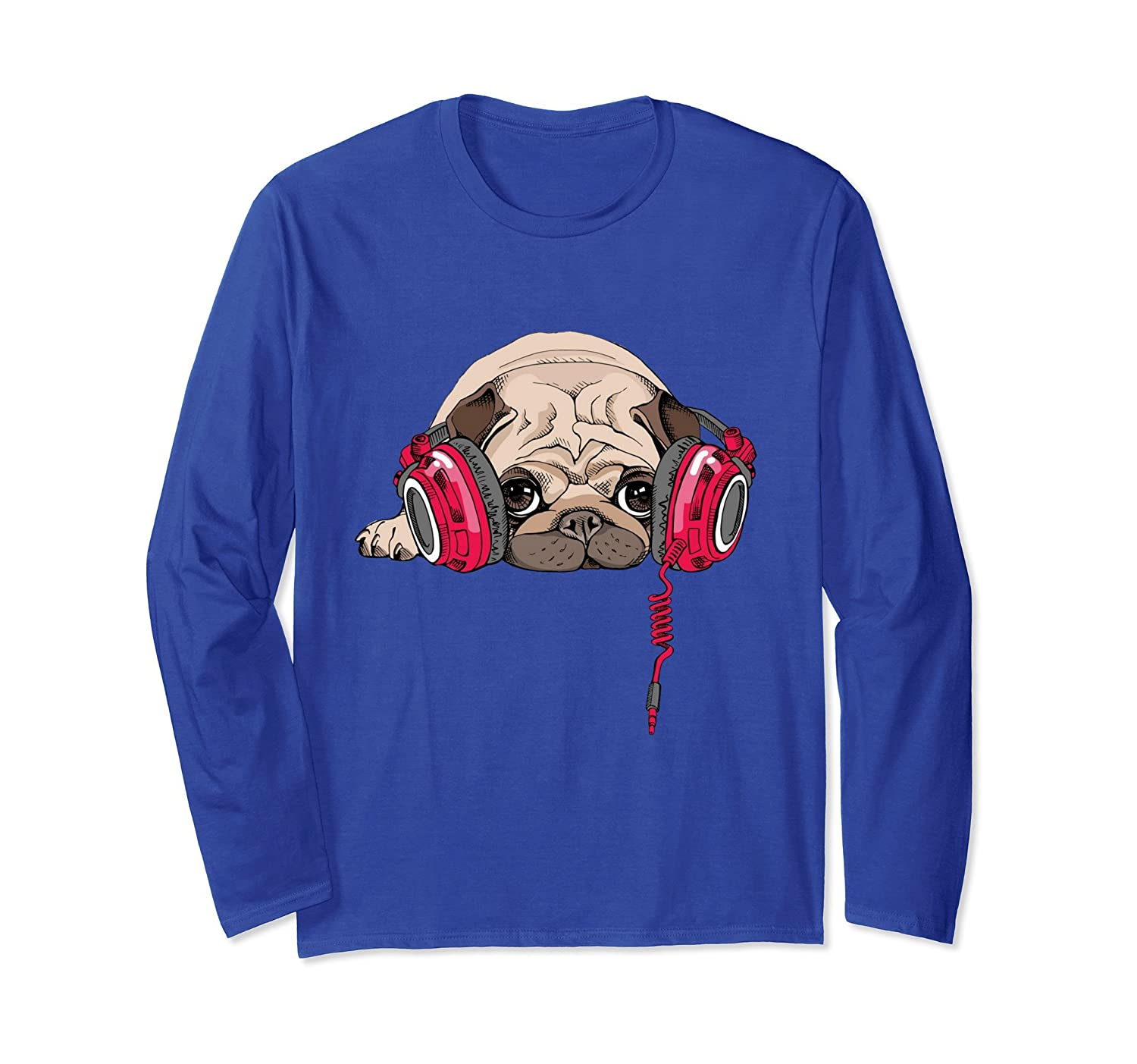 Adorable Pug Wearing Music Headphones Long Sleeve T-Shirt-AZP