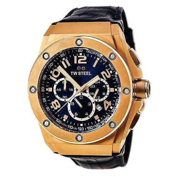 TW Steel TWCE4003 - Reloj cronógrafo de cuarzo unisex con correa de piel, color azul: Amazon.es: Relojes