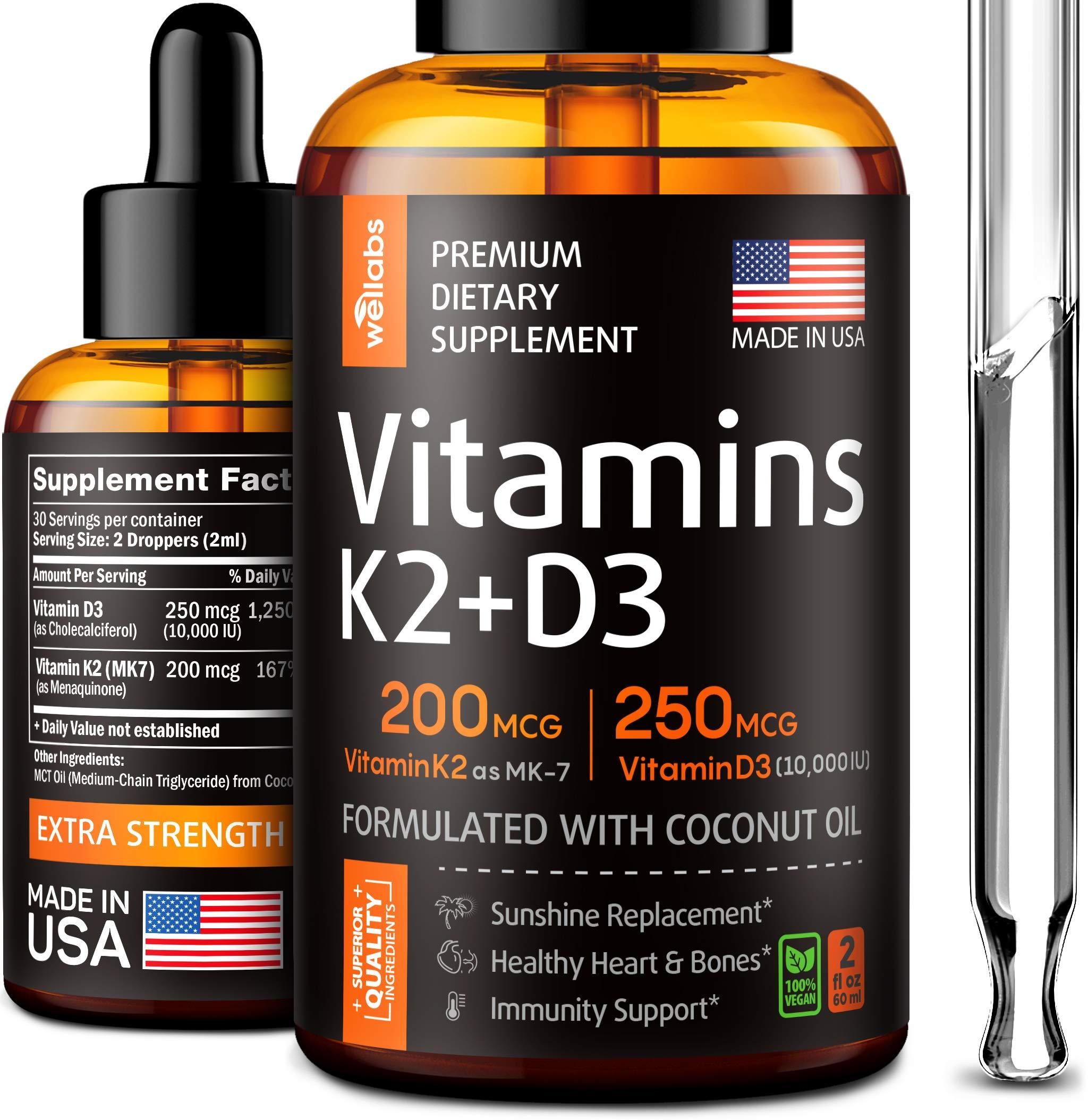 K2 & D3 Vitamin Supplement - Premium Immune Support - Liquid Vitamin D3 10000 IU - Made in The USA - Sublingual Vitamin D3 & K2 for Heart & Bone Health - The Sunshine D3 & K2 Vitamins