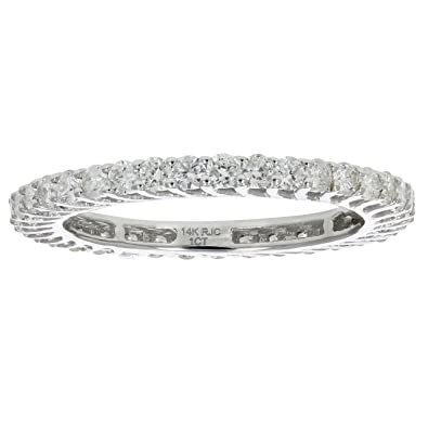 b2b1d129ce8 Amazon.com  1 CT Diamond Eternity Ring in 14K White Gold Size 9  Vir  Jewels  Jewelry