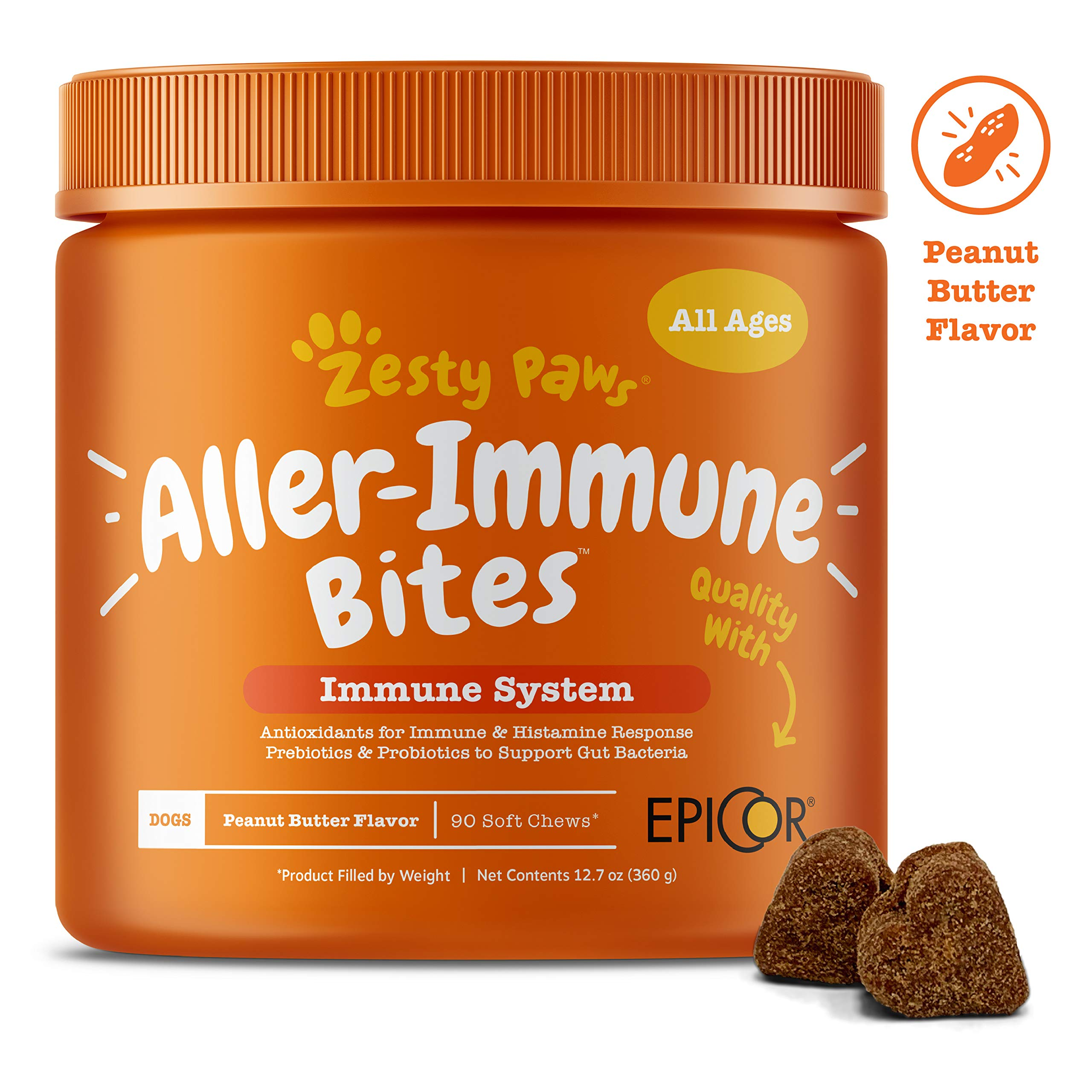Allergy Immune Supplement for Dogs Peanut Butter - With Omega 3 Wild Alaskan Salmon Fish Oil, EpiCor, Digestive Prebiotics & Probiotics - Seasonal Allergies + Skin Itch & Hot Spots - 90 Chew Treats by Zesty Paws