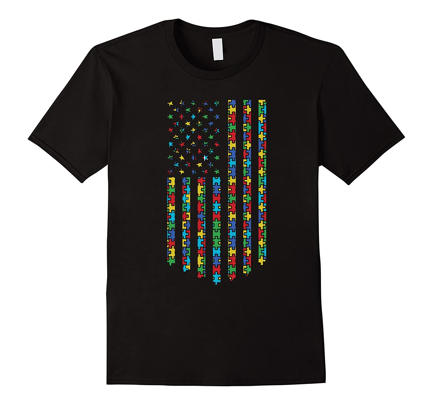 Autism Flag Shirt  Cool Graphic America Autism Flag Tee-CD