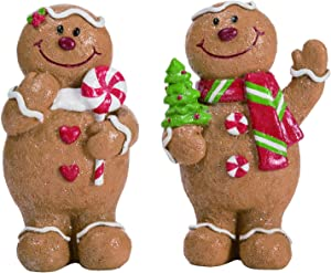 """Transpac 6"""" Gingerbread Man with Striped Scarf and Peppermint Christmas Holiday Decoration Figures - Set of 2"""