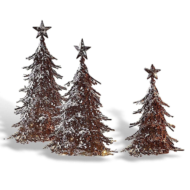 Loberon Loberon Loberon Deko-Baum 3er Set Tennie, Weihnachtsdeko, Eisen, H Ø ca. 32 18 cm, braun Silber b31249