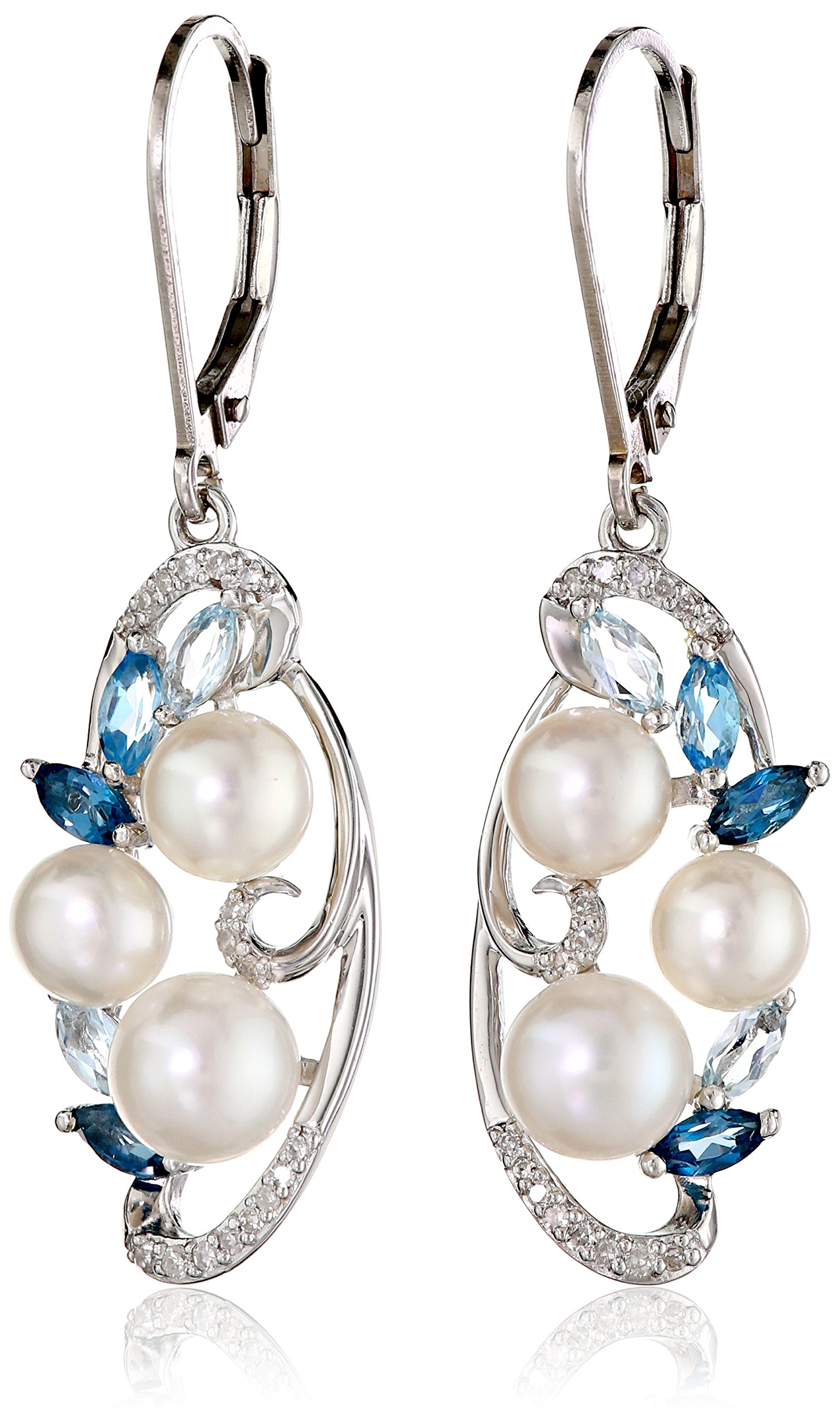 Sterling Silver Cluster Freshwater Cultured Pearl and Mixed Blue Topaz Diamond Drop Earrings (1/10cttw)