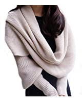 Butterme Automne Hiver couleur unie tricoté écharpe châle avec manches pour Femme Filles