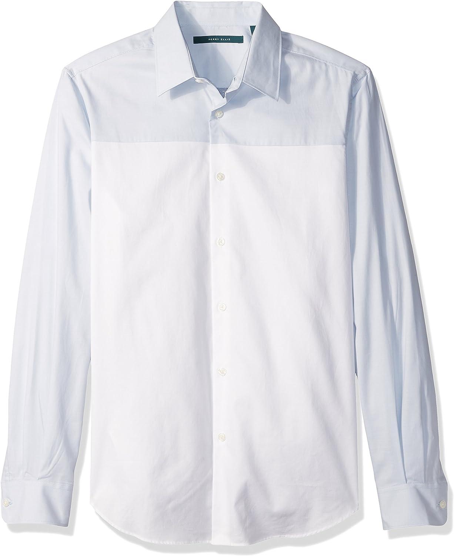Perry Ellis Mens Long Sleeve Color Block Shirt/