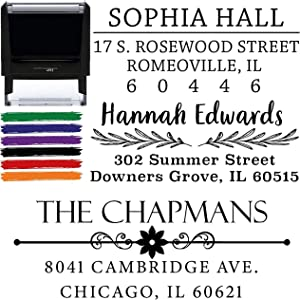 Address Stamp Choose Design! Custom Personalized Self Inking Return Address Stamp - Great Wedding, Housewarming or Client Gift Rubber or Wood Handle Business Christmas Stamper (Design 2)