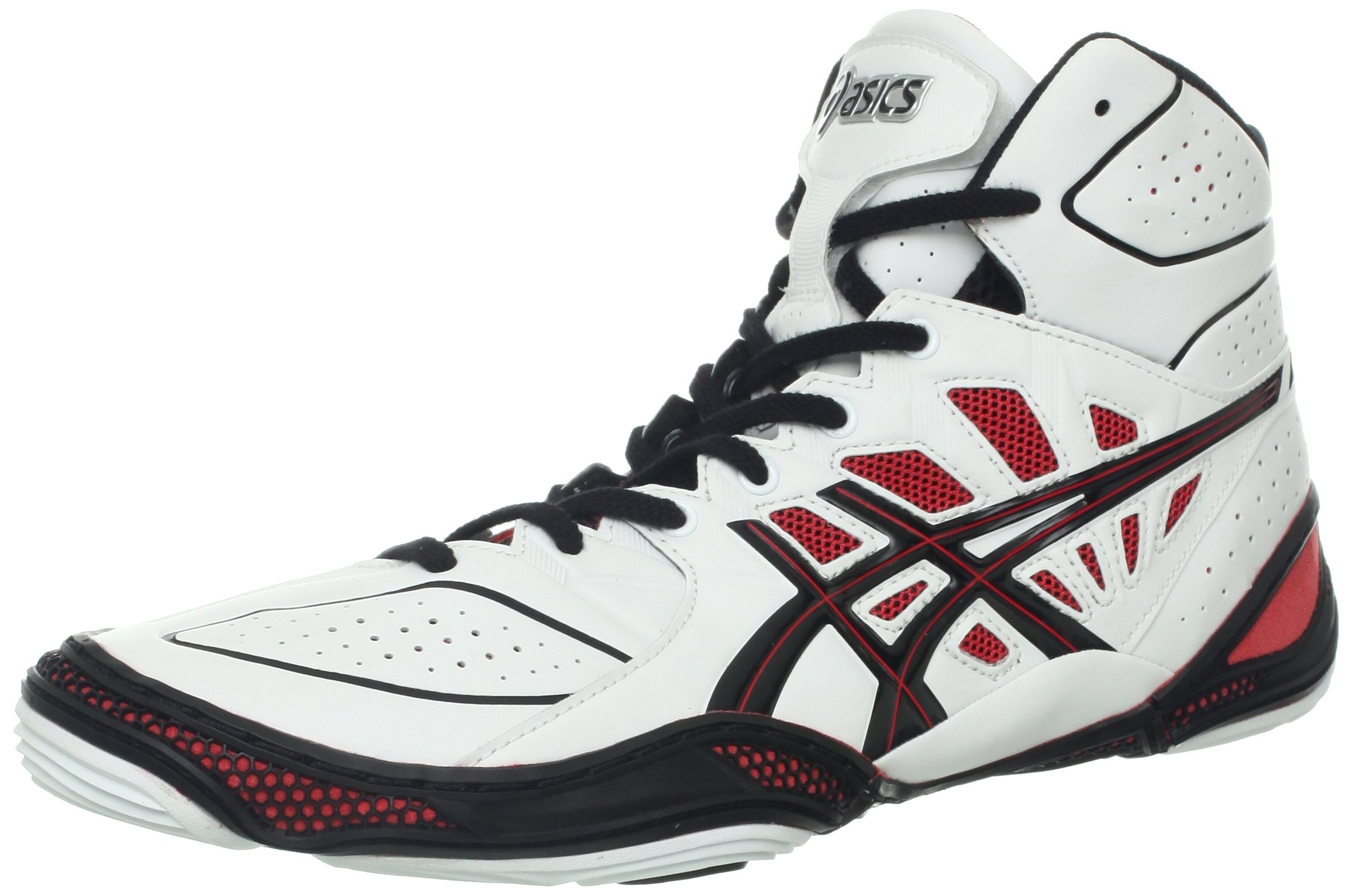 ASICS Men's Dan Gable Ultimate 3 Wrestling Shoe,White/Black/Red,8.5 M US by ASICS