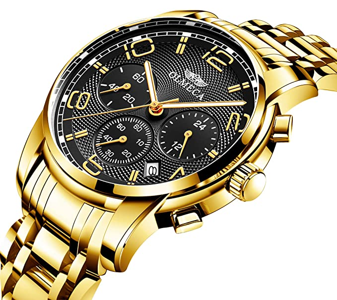 Mens Watches Multifunctional Analog Quartz Watches Big Face Watch Stainless Steel Strap Waterproof Chronograph Watches with Luminous Auto Calendar Clock ...