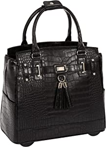 JKM and Company TIMELESS Black Alligator Crocodile Rolling Compatible with Computer iPad Tablet or Laptop Tote Carryall Bag