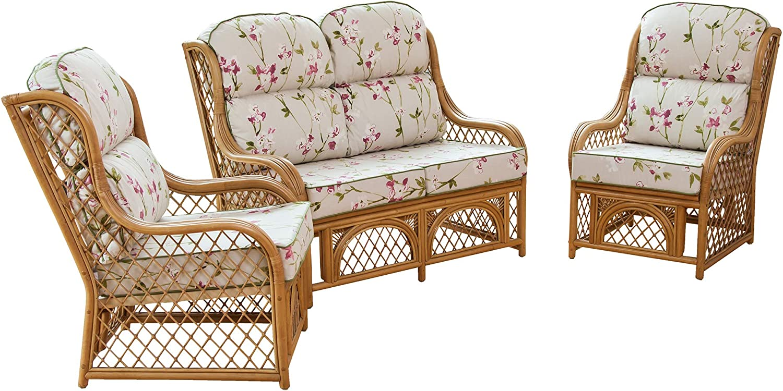 Bamboo Natural Alfresia Cadiz 2 Seater Cane and Diamond Lattice Conservatory Sofa