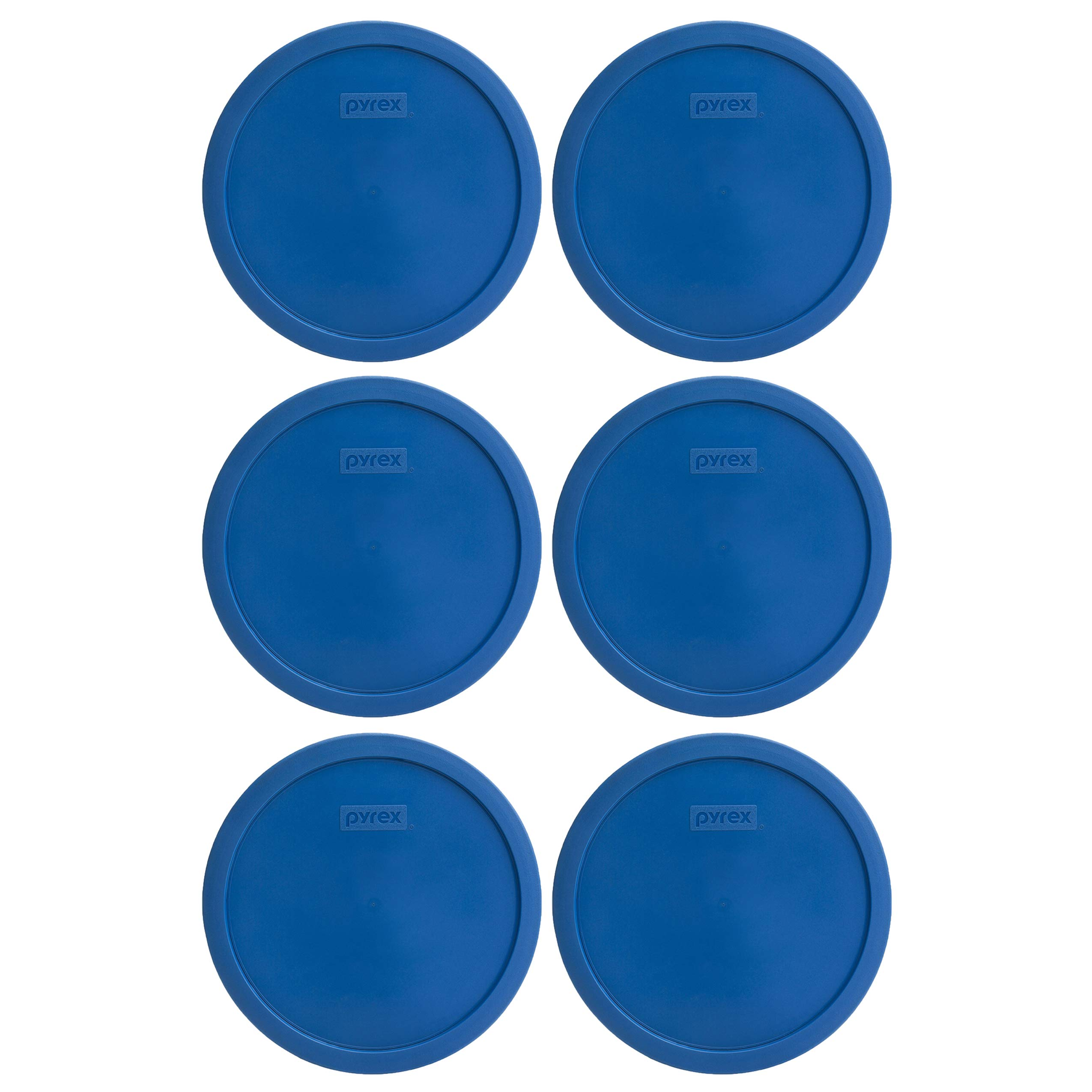 Pyrex 7401-PC 3 Cup Lake Blue Round Plastic Lid (6, Lake Blue)
