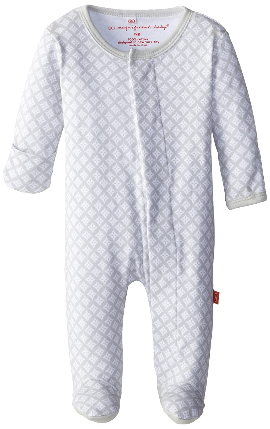 Magnificent Baby Unisex-Baby New-Born Footie, White Diamonds 1761-U