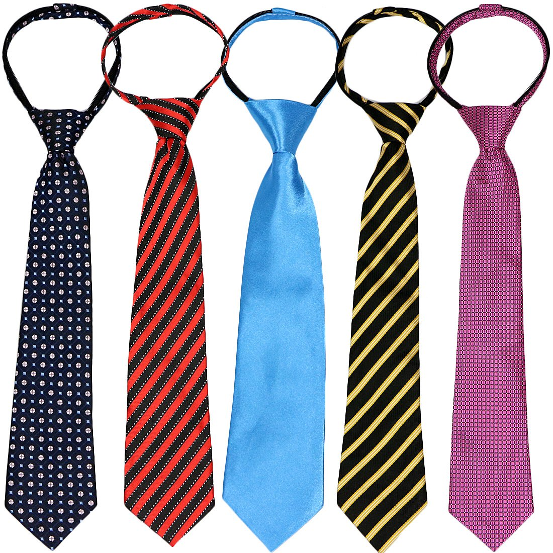 kilofly Pre-tied Adjustable Zipper Tie Kids Boys Baby Necktie Value Set of 5