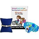 Generic Chandrika Pearls Gems & Jewellers Boy's Plastic Doremon LED Light Rakhi with Greeting Card (Blue, CA18RAKLED01)