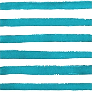 Creative Converting 24 Count Premium Patterned Beverage Napkins, Dotted and Striped, Peacock