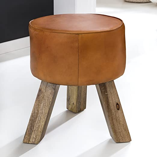 FineBuy Design Sitzhocker FB45553 Holz 37x45x37 cm Modern Fußhocker Rund | Turnbock Lederhocker Holzbeine | Hocker Massivholz mit Leder | Kleiner