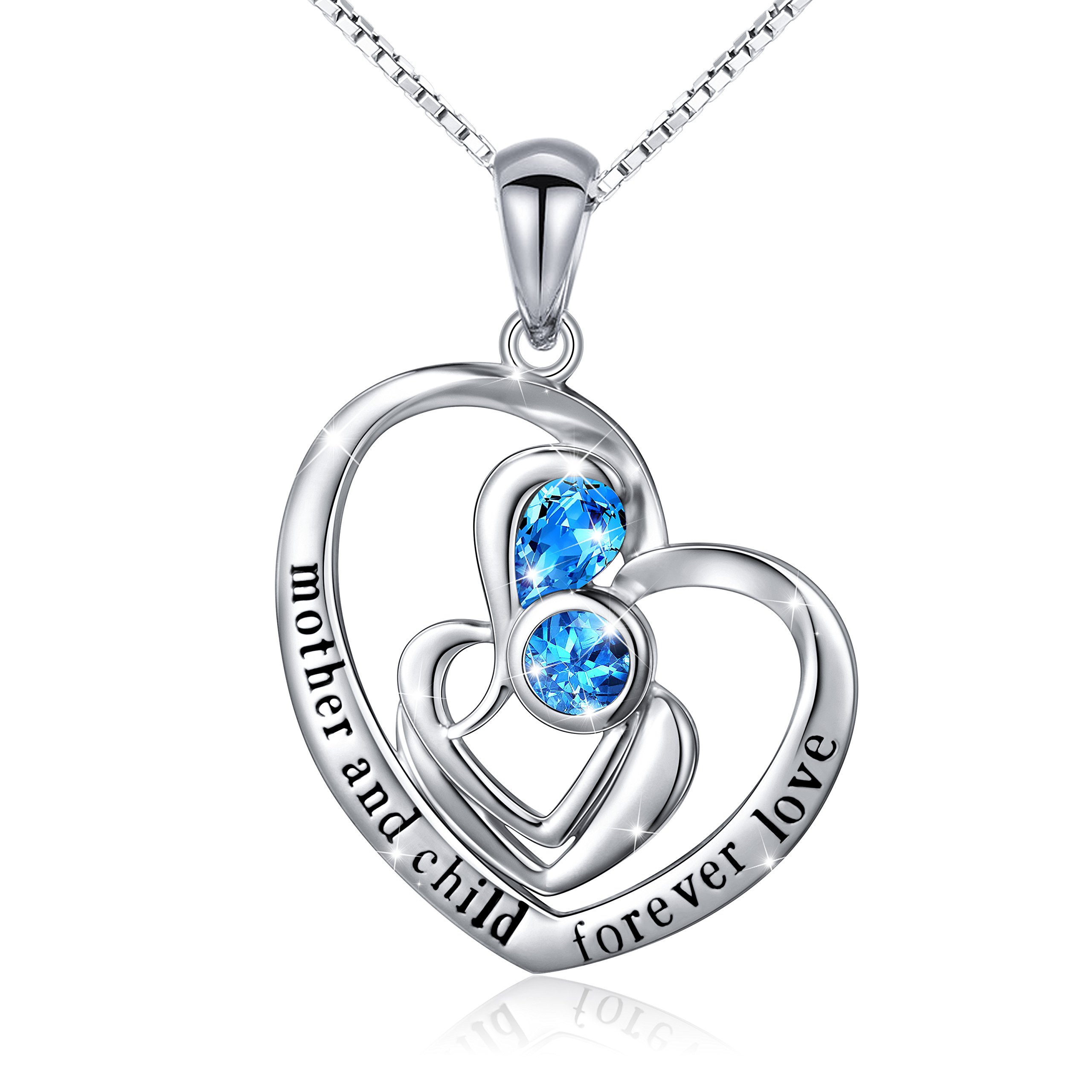 silver in sterling heart mother child pendant