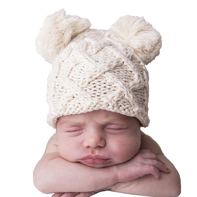 eec7dfbfe Huggalugs Natural Baby Cable Knit Pom Pom Newborn Girl Boy Hospital ...