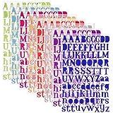 SIMUER Letter Stickers Adesivi Lettere Alfabeto Colorate Autoadesivi Stickers Glitter Adatte per Decorare Diario delle Vacanze/Album Fotografici/Scrapbooking/Decorazione Interni (8 Colori)