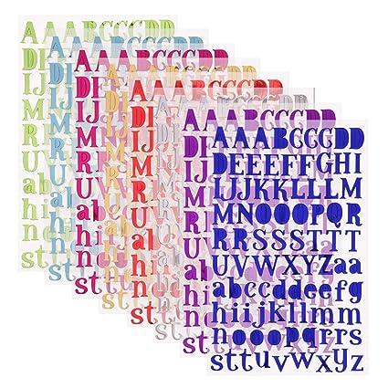 Simuer 8 Colores Carta Pegatinas Del Alfabeto Autoadhesivo Pegatinas De Letras Alfabeto Cada Color One Hojas Para Manualidades Decoración Adornos