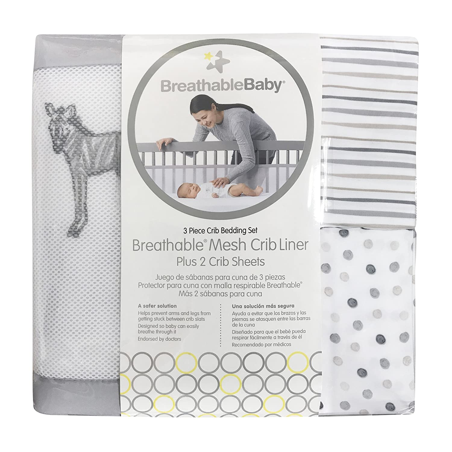 BreathableBaby | 3 Piece Crib Bedding Set Breathable Baby 90122