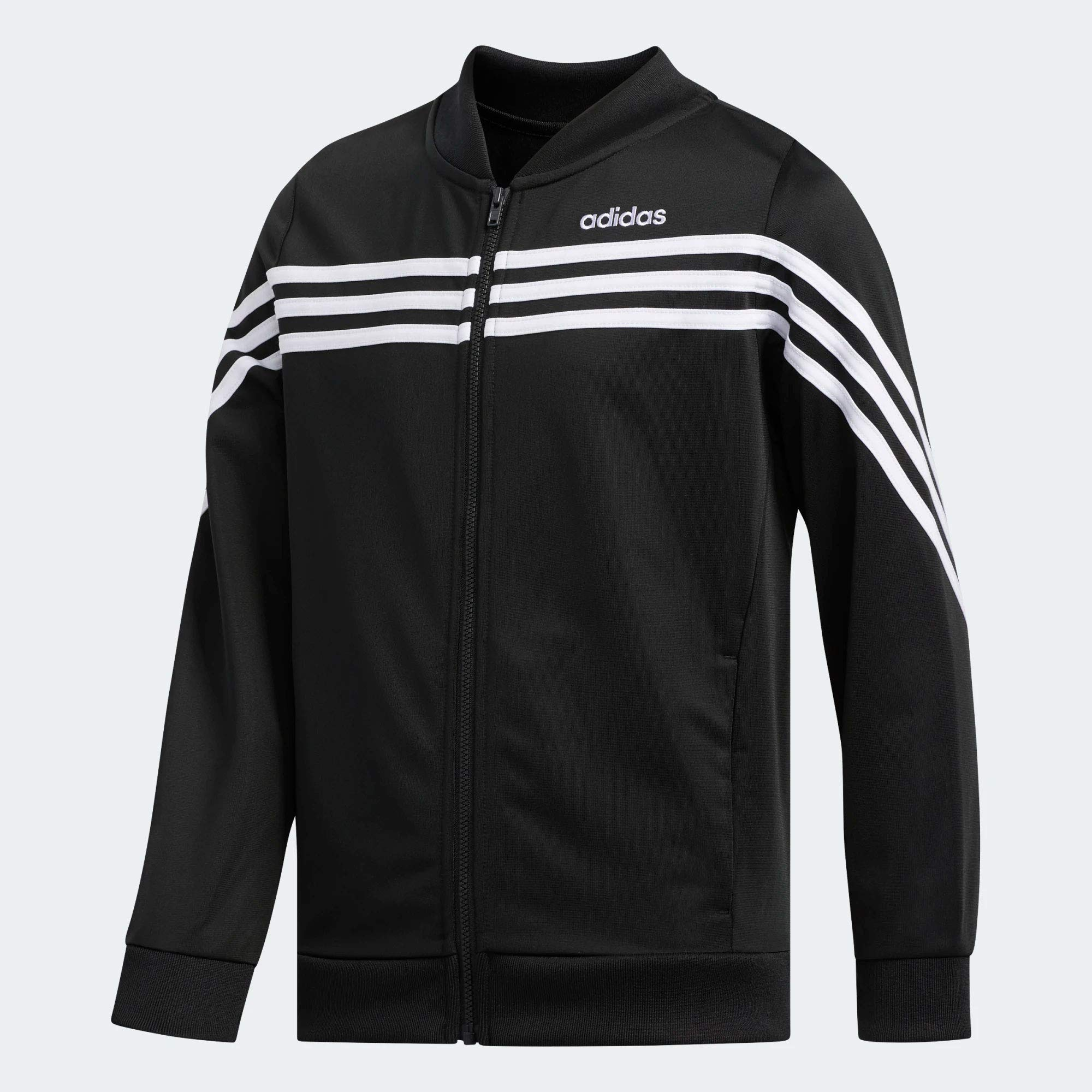 adidas Girls' Track Jacket (S (7/8), Black/White Linear) by adidas