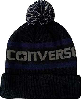 a73312c4689b6 Converse Jacquard Knitted Bobble Beanie Hat Black/Grey: Amazon.co.uk:  Clothing