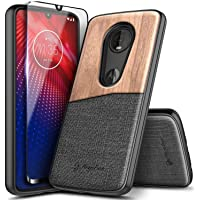 Moto Z4 Case with Tempered Glass Screen Protector (Full Coverage), E-Began Premium...