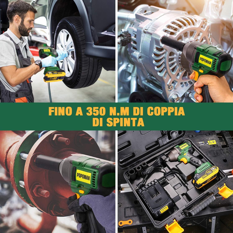 19 3x Chiavi A Bussola-17 Avviatore ad Impulsi POPOMAN 350Nm Brushless Avviatore a Impulsi 21mm Valigetta Rigida-BHD850B 0-1500-1800-2200RM 3 Velocit/à con 2.0Ah Batteria Attacco 1//2