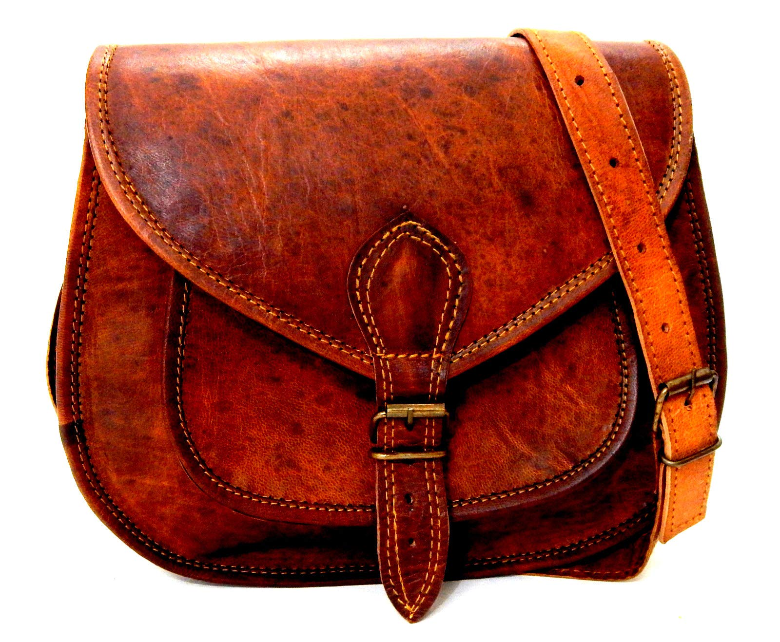 8c081dedc0fd4 Firu-Handmade Women Vintage Rustic Retro Style Genuine Brown Leather Cross  body Shoulder Bag Handmade Purse