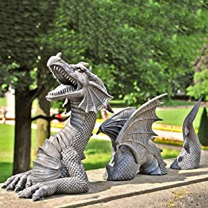 Nileco Large Dragon Gothic Garden Decor Statues,Castle Moat Lawn Dragon Outdoor Statue Funny Garden Sculptures and Statues,Yard Art Resin Dragon Figurines Ornaments for Home Decor-White One Size