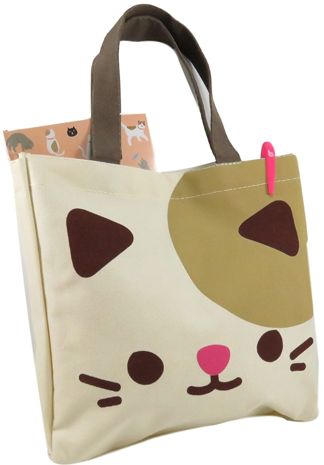 Daiso Cute Kitty Cat Tote Bag Purse 10.75 x 10.5 Canvas Polyester Beige Brown Pink