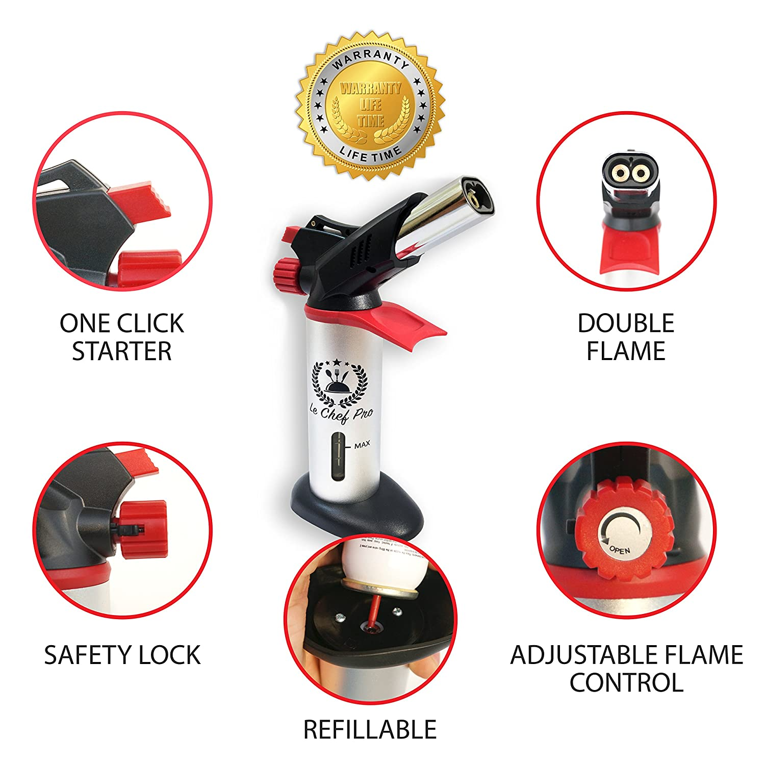 Amazon.com: DOUBLE FLAME Culinary Torch for Creme Brulee, Best ...