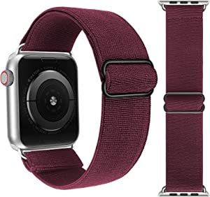 Adjustable Elastic Solo Loop Bands Compatible with Apple Watch 42mm 44mm Stretchy Sport Soft Strap Women Men Replacement Wristband for iWatch Series 6 SE 5 4 3 2 1 Wine Red