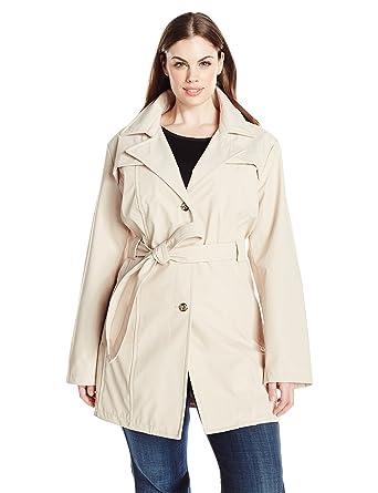 71969f6bbea Amazon.com  Larry Levine Women s Plus-Size Single Breasted Trench Coat   Clothing