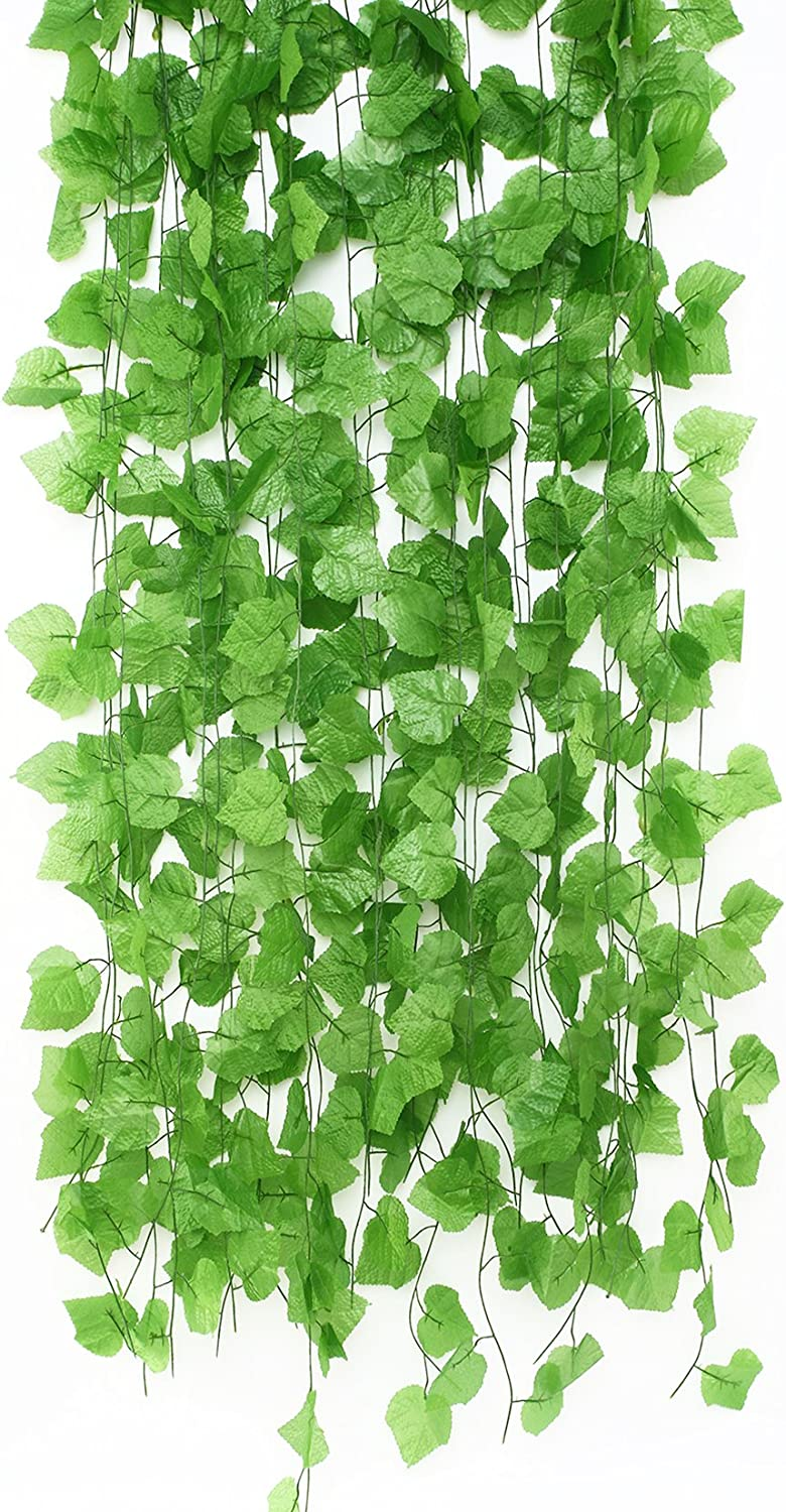 Charmly 12 Pcs Artificial Grape Leaves Vine Fake Hanging Garland Plants Greenery Ivy for Wedding Party Garden Office Wall Decoration Each Vine Has 30 Leaves