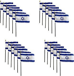 product image for Set of 24 4x6 E-Gloss Stick Flag Israel - Flag Only - Made in The USA