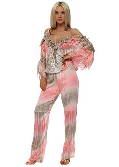 1e1bdbfabc2 My Story Coral   Mocha Stripe Cold Shoulder Jumpsuit One Size Peach Coral