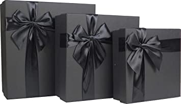 Cypress Lane Square Rigid Gift Box With Ribbon 11 Inches A Nested Set Of 3 Black