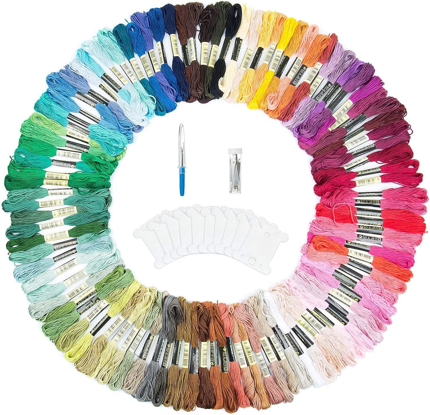 Stickerei Kreuzstich Set f/ür Freundschaftsb/änder ZWOOS 143 PCS Stickgarn Embroidery Floss Weicher Baumwolle 100 Farben Stickerei