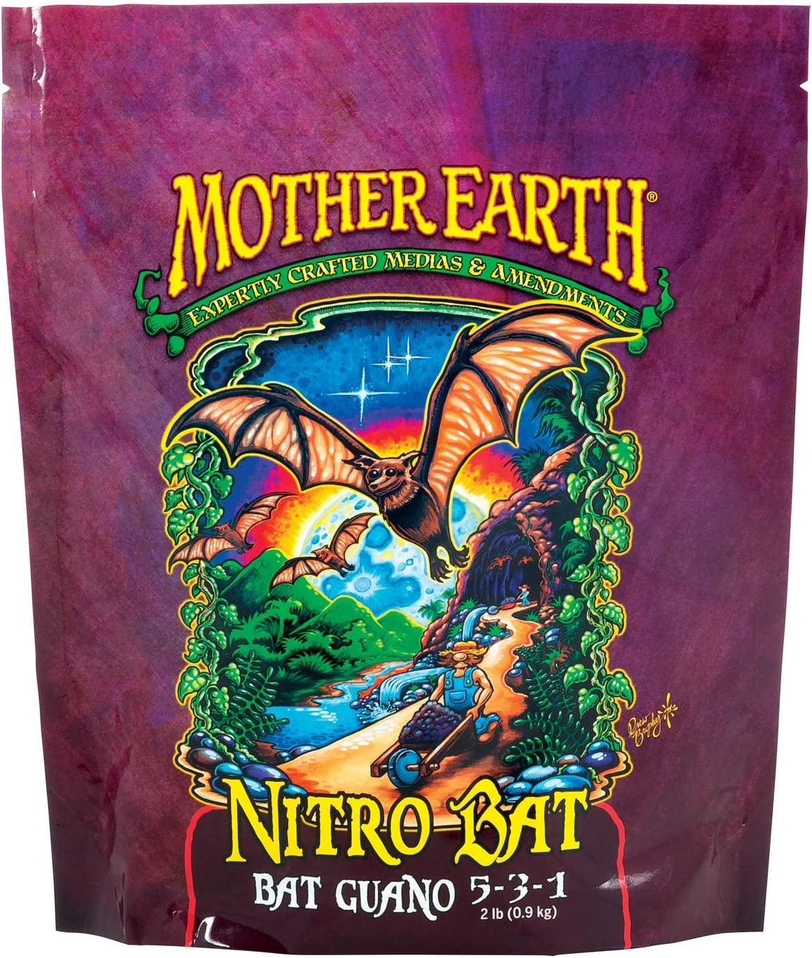 Mother Earth HGC733955 Nitro Bat Bat Guano 5-3-1 Plant Fertilizer For Vegetative Plants, Flowers And Tomatoes, 2 lbs.