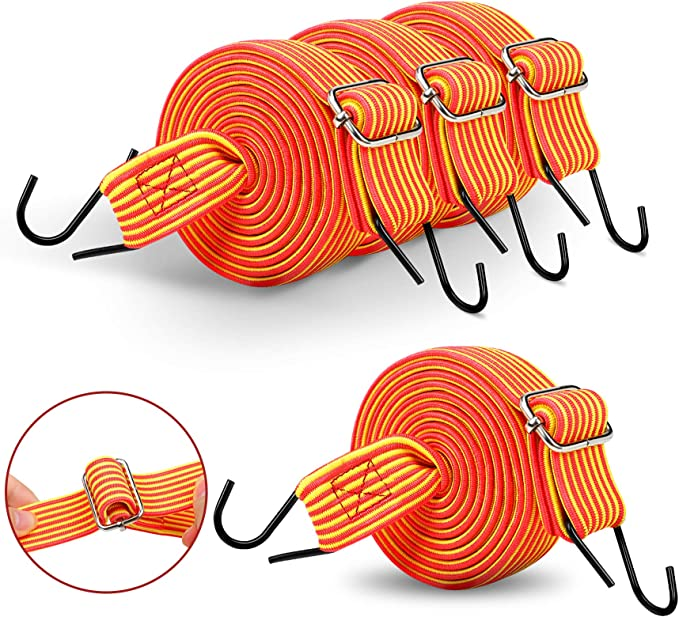 Tarp Tie Down RV Adjustable Flat Bungee Cord 2 PACK 78.7 Total Length with Metal Hooks Cargo Dolly Camping Black Hand Carts Moving Trunk,Motorbike, Luggage Rack