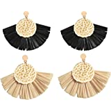 Allen&Danmi AD Jewelry Bohemia Style Spring Raffia Dangle Earrings Made with Woven Rattan for Women
