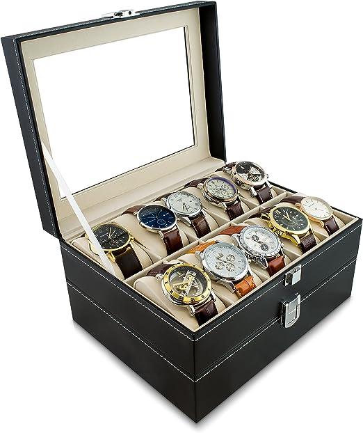 Caja de reloj para guardar 20 relojes - Negro 26 x 24 x 15 cm - Reloj de pulsera Presentación Reloj Organizador - Grinscard: Amazon.es: Juguetes y juegos