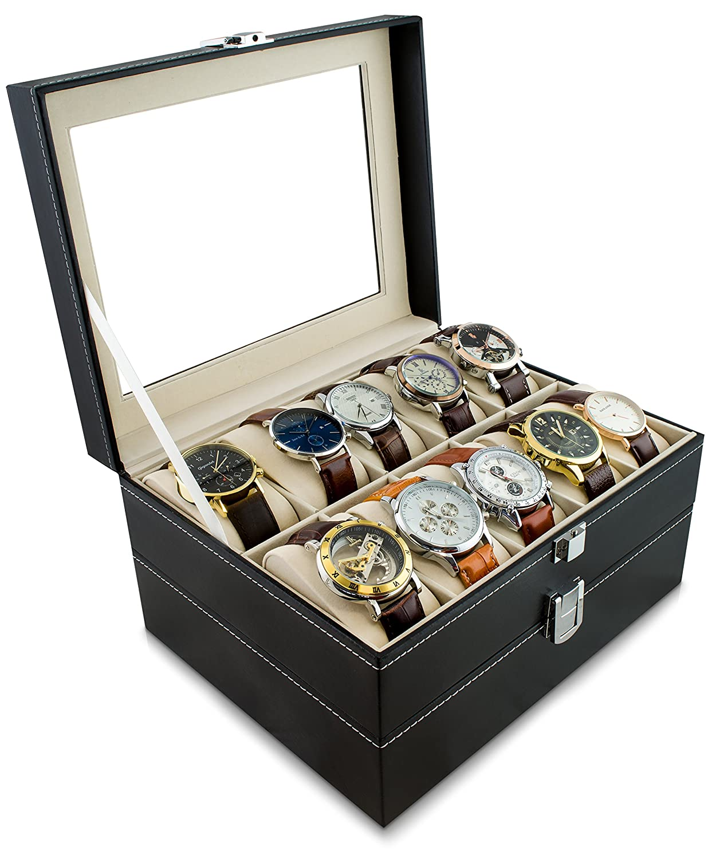 Caja de reloj para guardar 20 relojes - Negro 26 x 24 x 15 cm - Reloj de pulsera Presentación Reloj Organizador - Grinscard