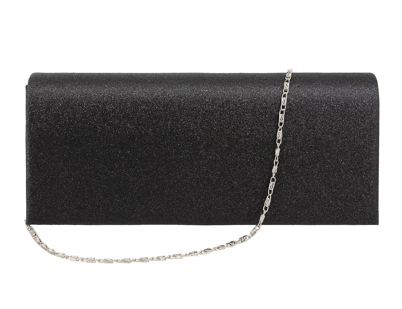 Gabrine Womens Evening Shoulder Bag Handbag Clutch Purse Shiny Sequins for Wedding Prom Party(Black)