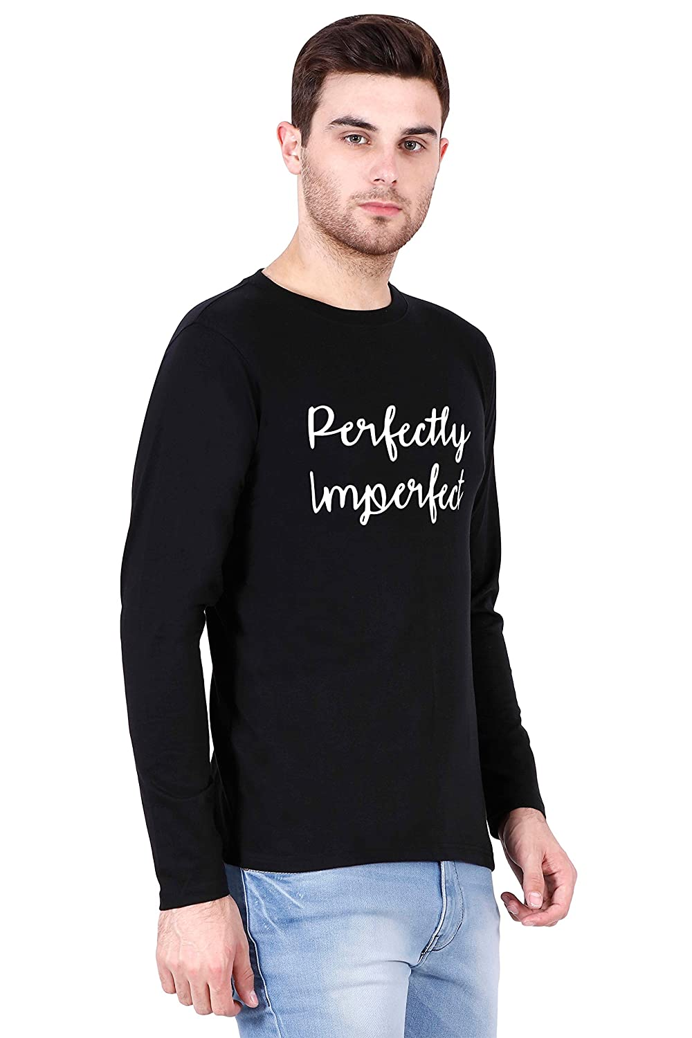 a5db4a4a15a9 Be Awara Perfectly Imperfect Round Neck Full Sleeves T-Shirt (Black ...